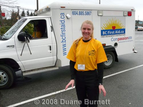 Kellei Baker in front of the BC First Aid truck